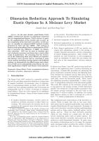 Dimension Reduction Approach To Simulating Exotic Options In A Meixner Levy Market.pdf