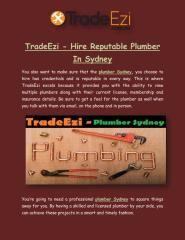 TradeEzi - Hire Reputable Plumber In Sydney.pdf
